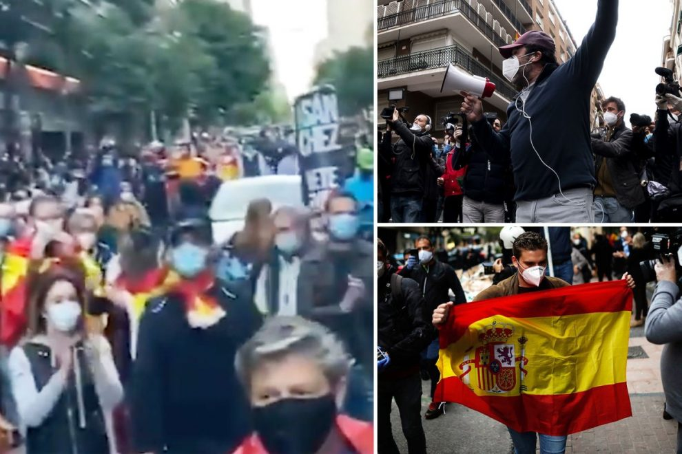 Coronavirus social unrest could explode in Spain, cops fear as thousands of anti-lockdown protesters take to the streets