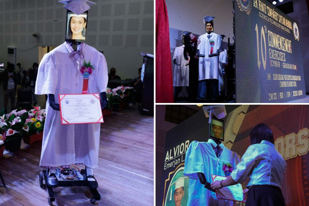Glimpse at graduations of the future as robots have pics of students stuck on their faces at socially distanced ceremony