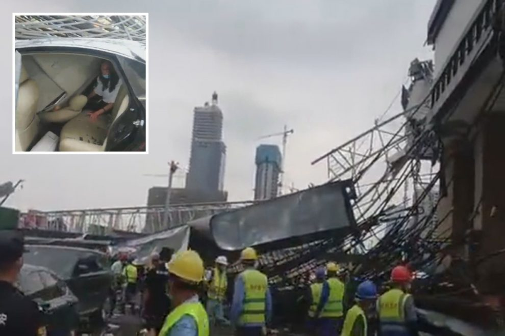 Shocking moment huge crane collapses onto busy motorway trapping terrified woman in car in China