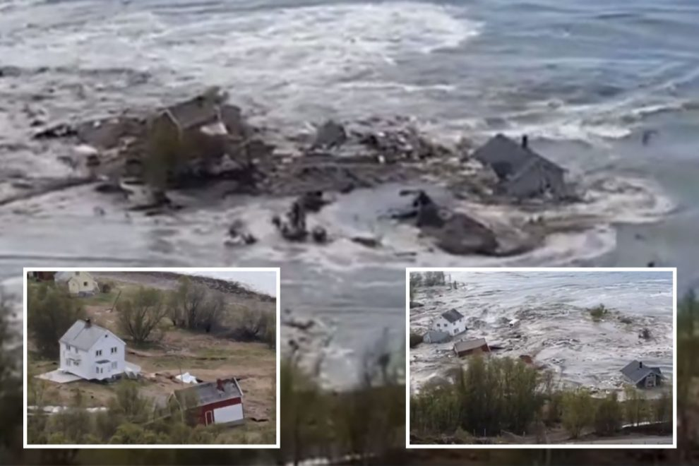 Shocking moment massive landslide drags several houses and cliffs into the sea off Norway