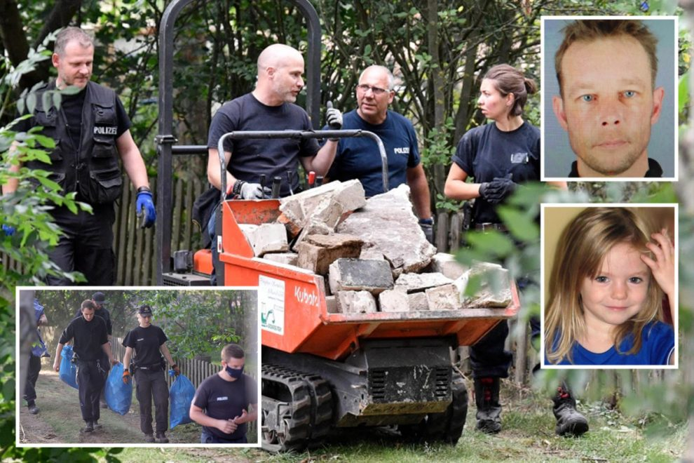 Madeleine McCann suspect's 'hidden cellar' left untouched since year tot vanished as cops remove skips full of evidence