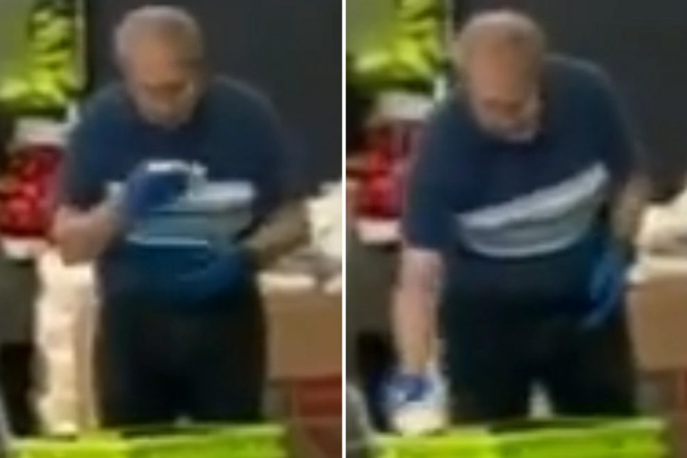 Woman 'felt sick' after catching supermarket cleaner SPIT-SHINING shopping baskets in disgusting video