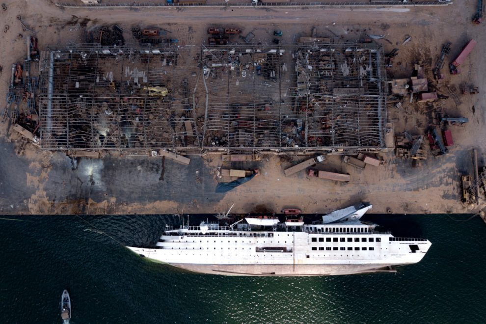 Chilling drone pics show Beirut cruise liner still on its side week after massive explosion killed 171