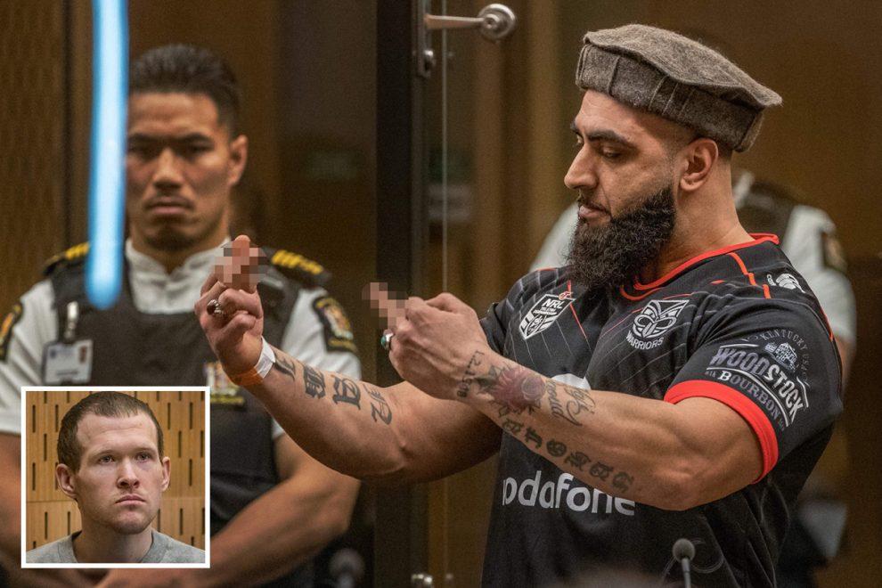 Christchurch massacre -Victim's son raises middle fingers to 'maggot' white supremacist mosque gunman in court