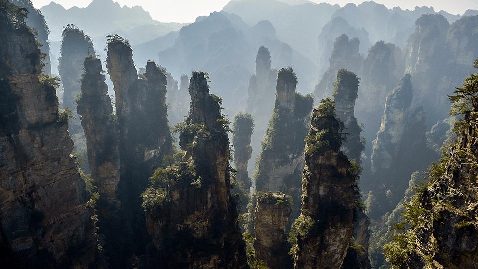 Aerial view over China's Zhangjiajie National Park