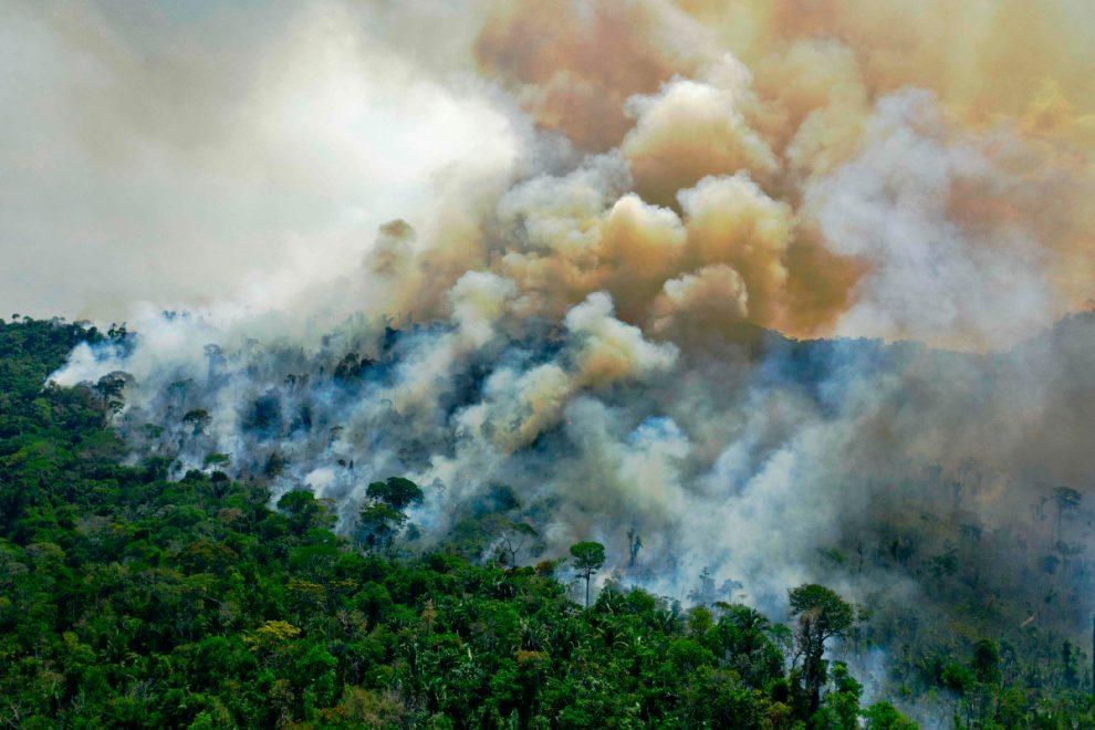 Fire crews battle huge blazes in the Amazon – after Brazilian president Jair Bolsonaro denies they exist