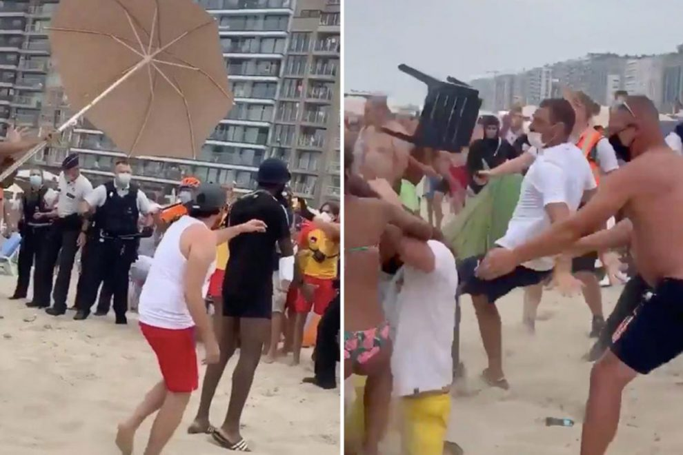 Massive brawl sees beachgoers batter each other with umbrellas and sunbeds in Belgium