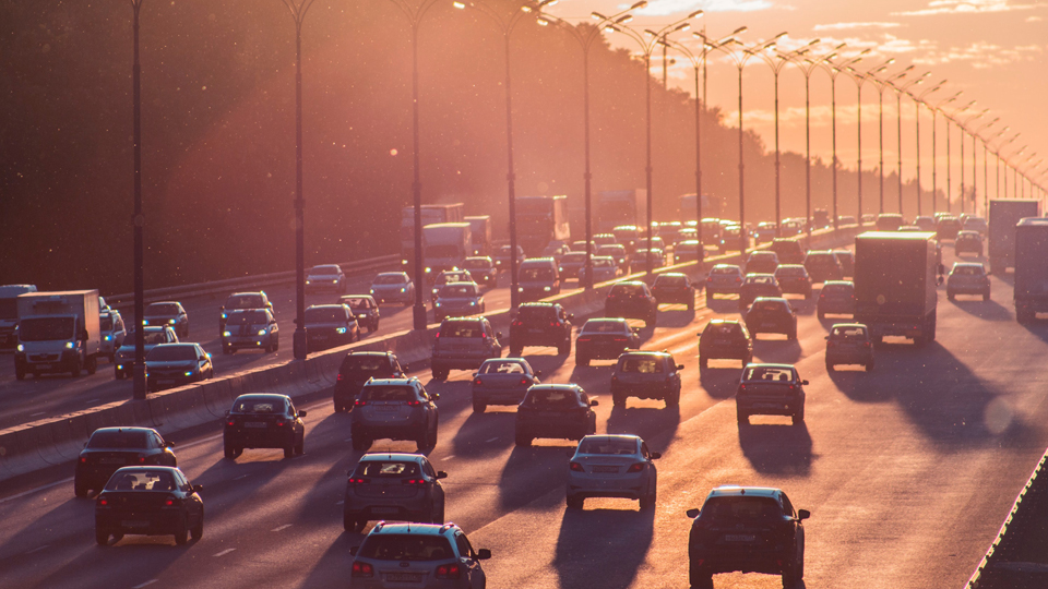 traffic at sunset