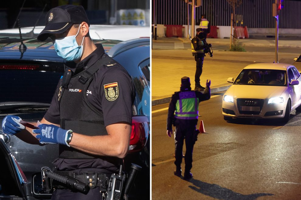 Cops carry out spot checks in locked down Madrid after millions told to stay at home unless absolutely necessary