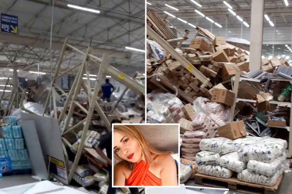 Supermarket worker, 21, killed after towering shelves collapsed as horrifying video shows shoppers run for their lives