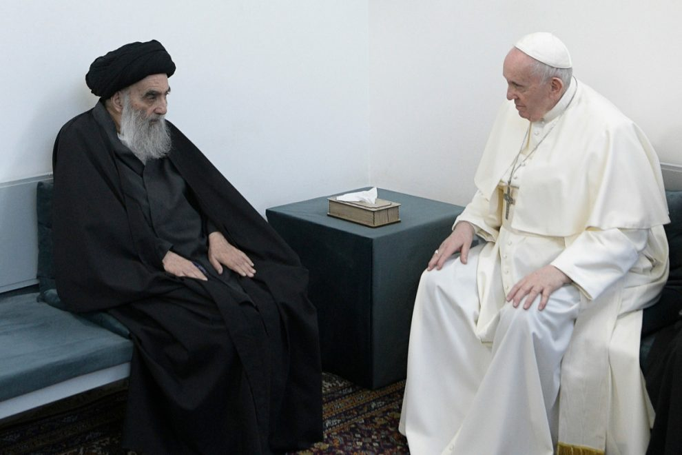 Pope Francis holds historic meeting with top Shiite Muslim cleric in Iraq in bid to 'erase the language of war'