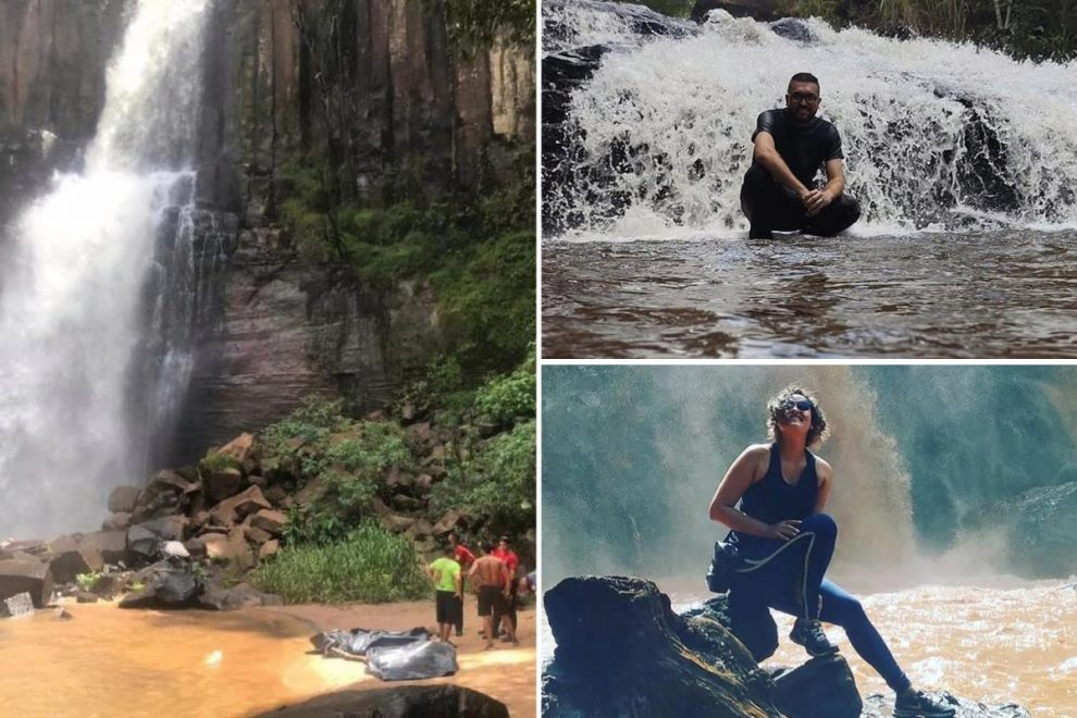 Two friends died plunging down waterfall when woman fell taking a selfie and pal tried to catch her