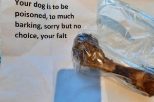 Pet owner finds horrifying note next to 'poisoned' bone left for her puppy because he 'barks too much'