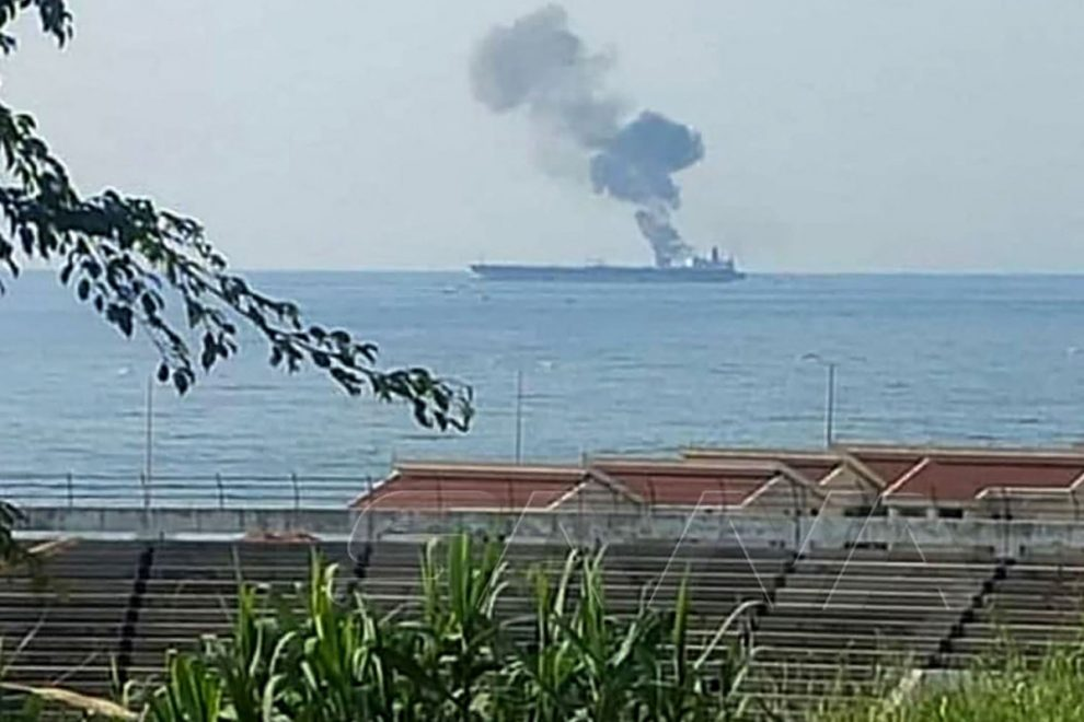 Sanctions-busting Iranian oil tanker on fire after 'Israeli drone strike' explosion off the coast of Syria