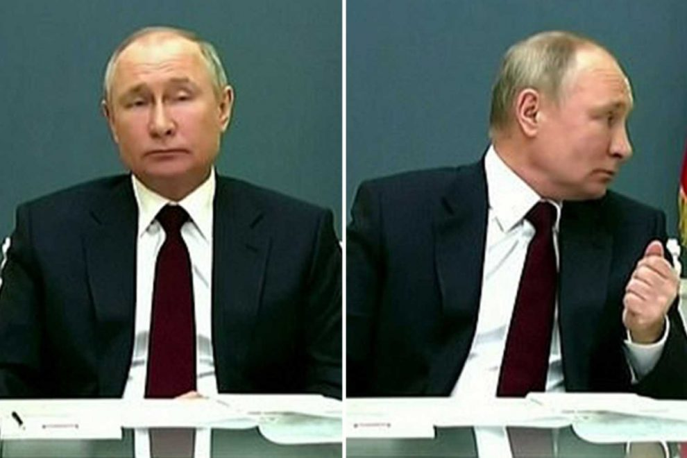 Vladimir Putin looks BORED as camera glitch cuts to him while Macron is speaking at climate change conference