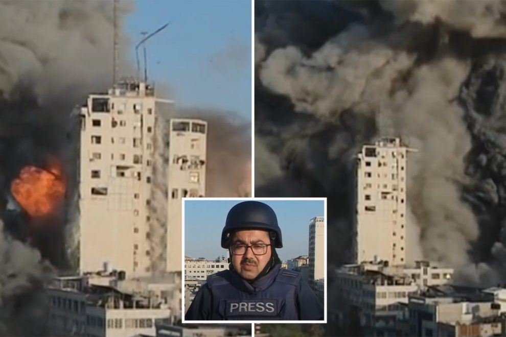 Gaza tower block collapses live on air behind BBC news reporter as bombs rain from the sky