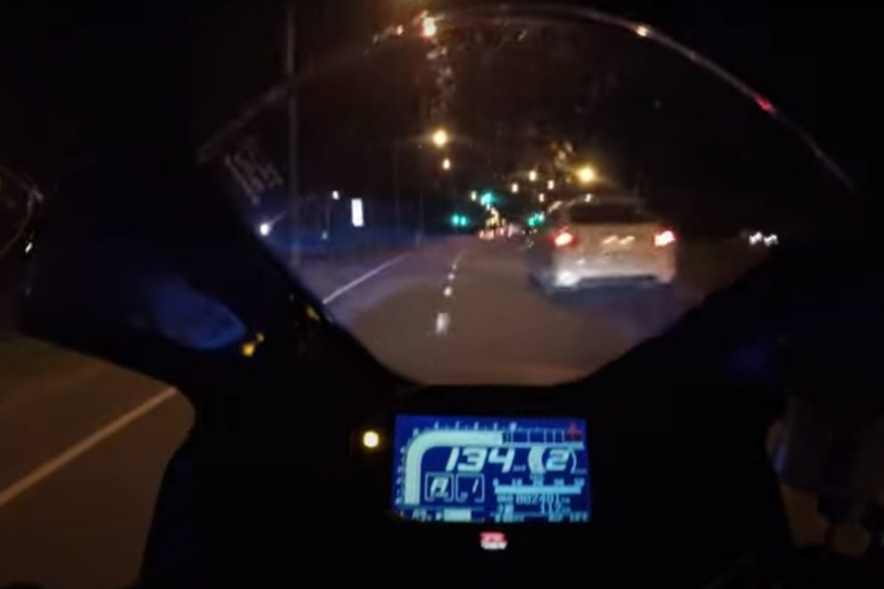 Haunting clip shows motorcyclist speeding at 160mph just before crash that left him brain damaged as wife shares warning