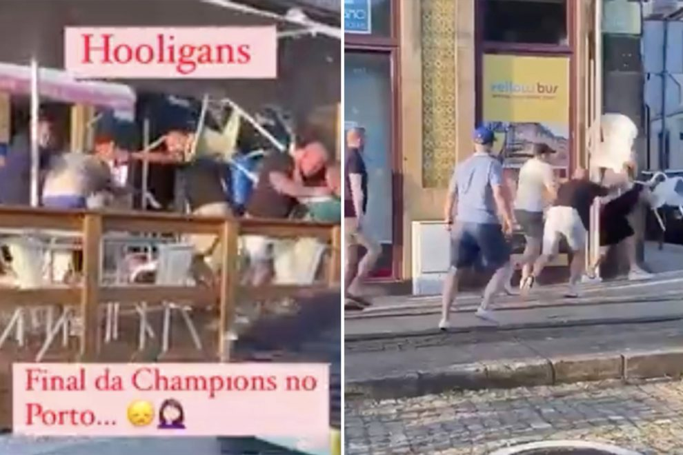Shocking moment rival Chelsea and Manchester City fans throw punches and chairs in WWE-style scrap before final