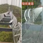 Terrifying picture shows man dangling 330ft in the air after glass-bottomed bridge shatters in 90mph winds in China