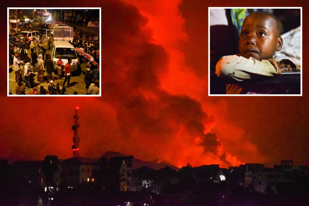 Thousands evacuated as Nyiragongo volcano erupts and fumes turn the sky red in apocalyptic scenes