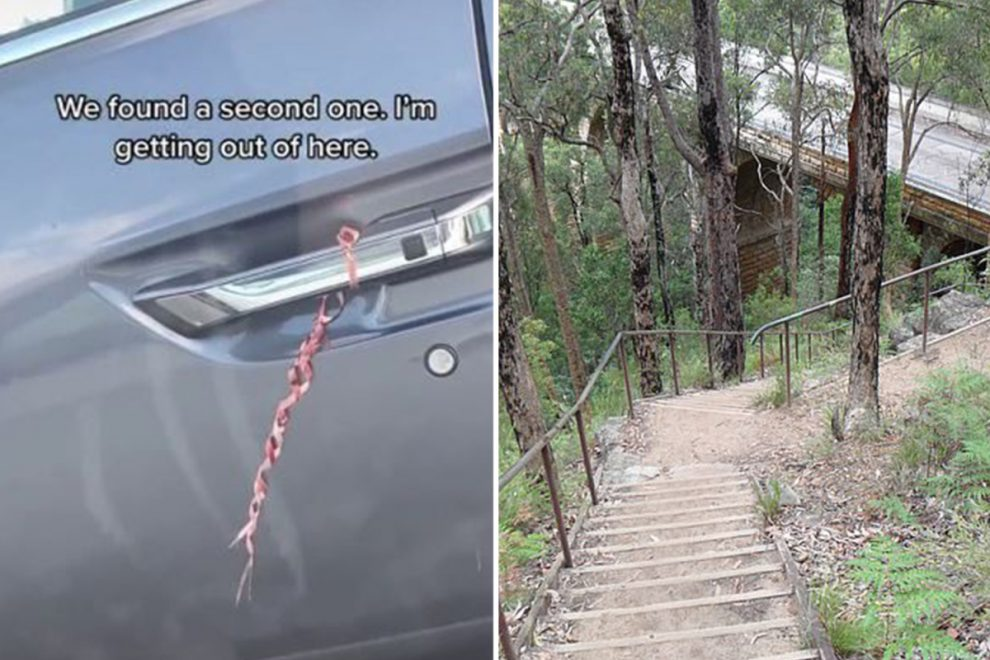 Woman issues warning to female hikers after fearing she was targeted for kidnap after finding a red ribbon on her car