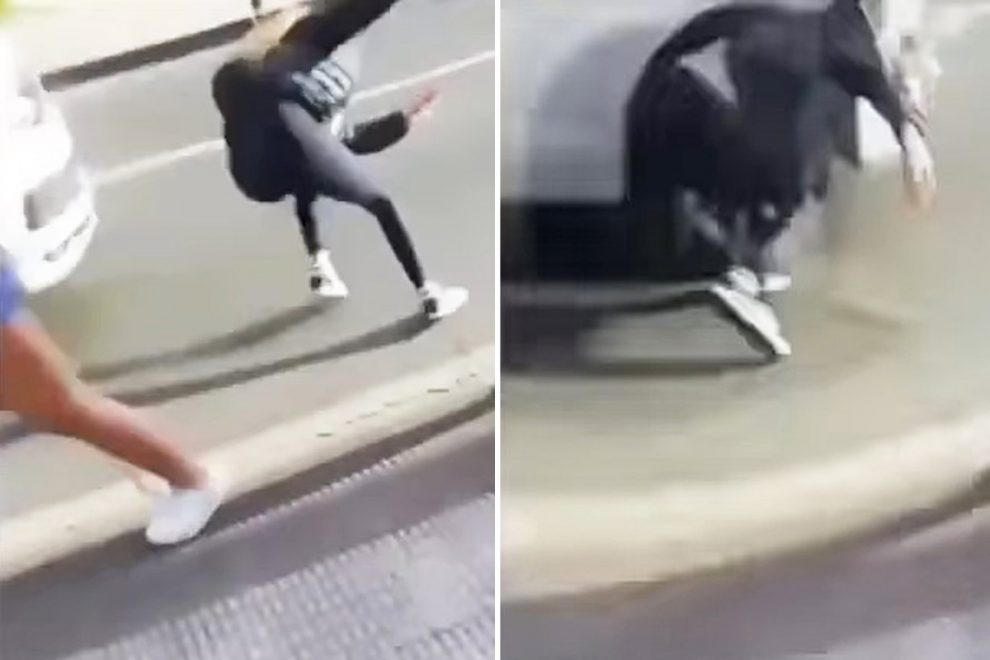 Shocking moment teen pushes friend, 14, in front of moving car after shoving her into pedestrians in sick 'joke'