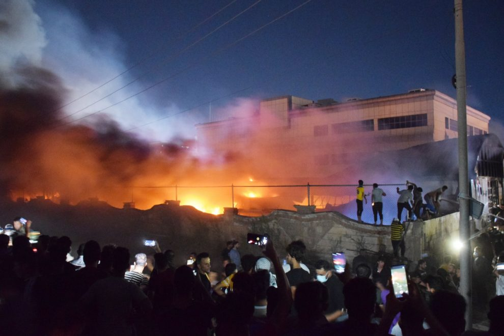 At least 50 killed as raging fire rips through Covid isolation ward at hospital in Iraq after 'oxygen tank explodes'