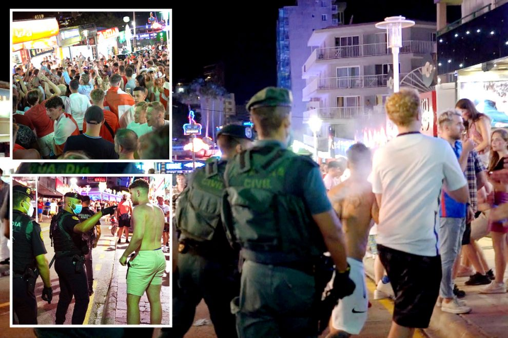 Brutal Spanish cops pepper-spray England fans celebrating Euro 2020 semi-final win as they party on Magaluf strip