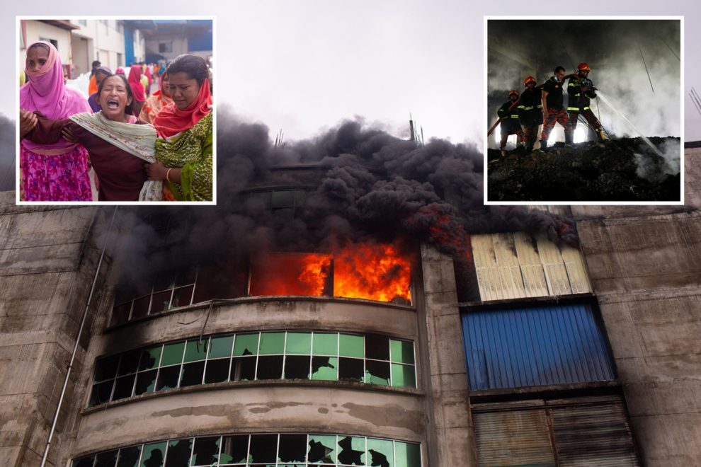 Dozens of children killed in Bangladesh factory fire after main gate locked forcing workers to jump from roof