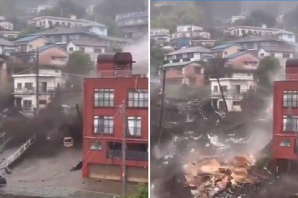 Japan landslide: Horror mudslide buries houses, swamps cars and leaves 20 people missing after heavy rain