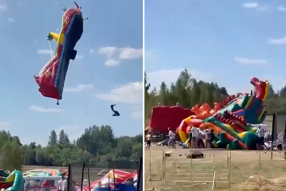 Terrifying moment children are hurled off bouncy castles as they're swept away by strong winds flying 30ft into the air