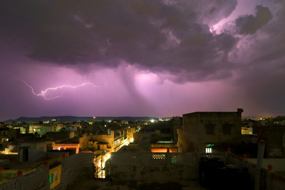 Thirty killed after lightning storm sweeps across India as buildings collapse and trees sent crashing to the ground